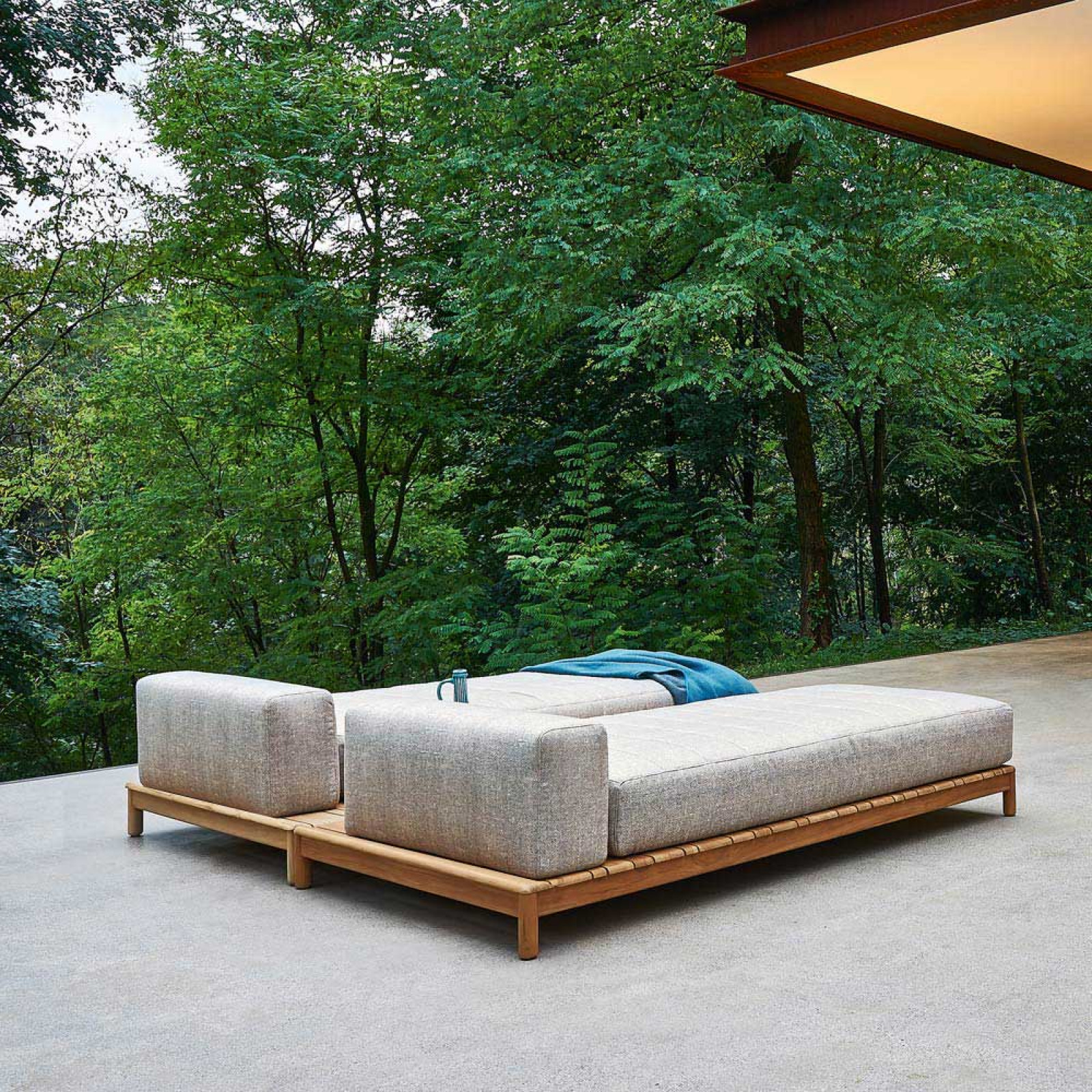 Varaschin Barcode Outdoor Doppel Daybed 180×180 cm mit Teakholzgestell